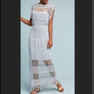 Anthropologie Callahan Fringed Crochet Maxi Dress